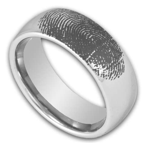 mm domed tungsten ring  custom engraved fingerprint