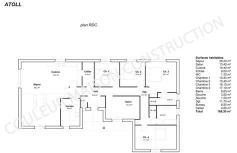 plan villa plain pied 4 chambres exposition plan maison chambres couleur maison le plan de