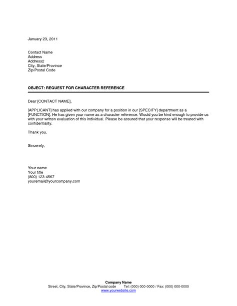 5 sles of character reference letter template