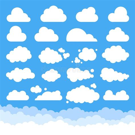 Grupo Grande De Nuvens Dos Desenhos Animados Do Vetor