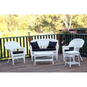 5 piece flynn white wicker patio chair loveseat table