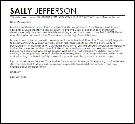care worker cover letter sample cover letter templates