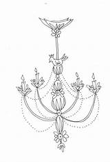 Chandelier Coloring Embroidery Mandala Clipart Chandeliers Patterns sketch template