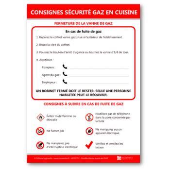sécurité en cuisine affiche des consignes de sécurité gaz en cuisine
