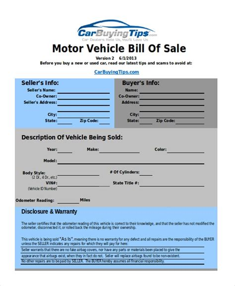 used car bill of sale form pdf sle bill of sale exles 10 free documents in excel