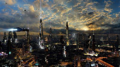 Futuristische Stadt, Nacht, Lichter 1920x1080 Full Hd 2k