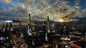 Futuristic city, night, lights wallpaper | Creative and ...