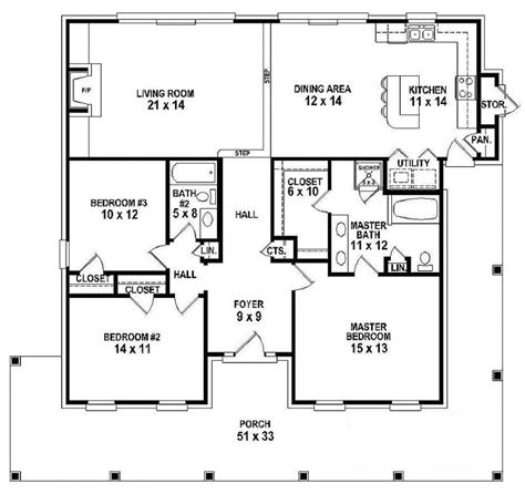 3 bedroom country house plans one house plans with 3 bedrooms e 3