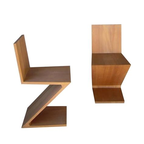 pair of vintage zig zag chair by gerrit rietvel cassina