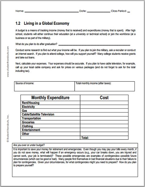 monthly budget worksheet for economics free to print