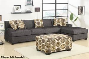 Poundex montreal iii f7445 f7447 grey fabric sectional for Sectional sofa bed montreal