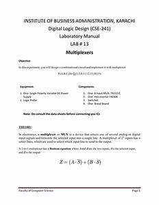 Laboratory Manual Lab   13 Multiplexers
