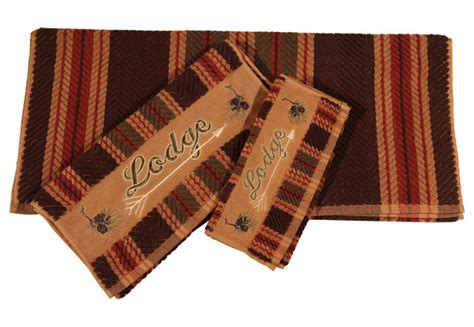 3 piece lodge stripe towel set rustic bath towels by