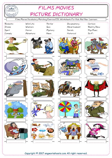Films Movies Vocabulary Matching Exercise Esl Worksheets For Kids And New Learners