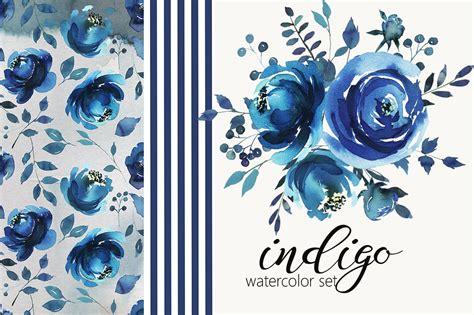 indigo blue watercolor flowers set illustrations creative market