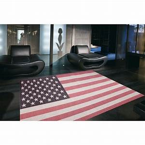 tapis design usa multicolore 120x170 With tapis shaggy avec canapé stressless home cinema