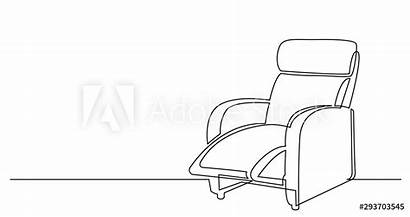 Chair Drawing Line Continuous Recliner Comfortable Mural