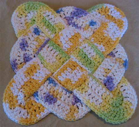 crochet potholders hooked on needles crocheted cotton pot holder trivet or hot pad