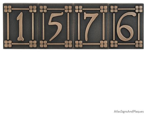 craftsman house numbers arts and crafts tiles individual 3 75 quot x 5 quot in bronze
