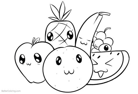 cute food coloring pages cartoon fruits  printable