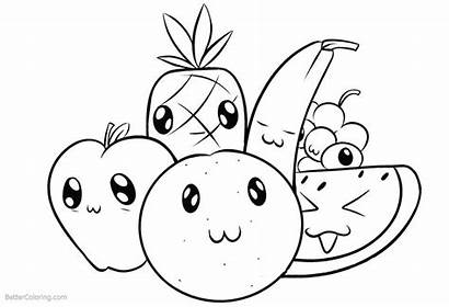 Coloring Pages Cartoon Fruits Printable Adults