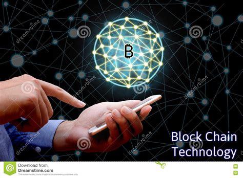 blockchain technology concept businessman holding