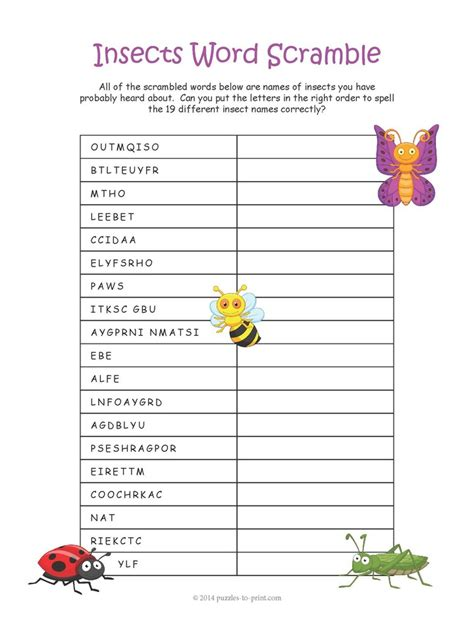 insect word scramble