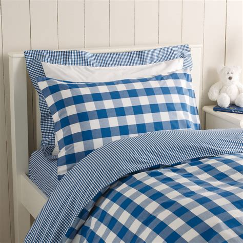 Royal Blue Reversible Gingham Bed Linen From The White