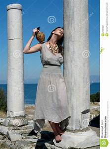 Women In Ancient Greece Beautiful Greek Young Girl Holding A Vessel Royalty Free