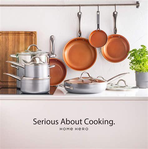 pcs red copper ceramic cookware induction pan set pots  pans nonstick ebay