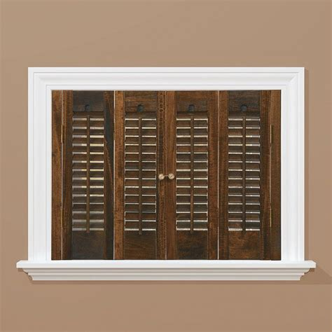 interior shutters home depot homebasics traditional real wood walnut interior shutter price varies by size qstd3536 the