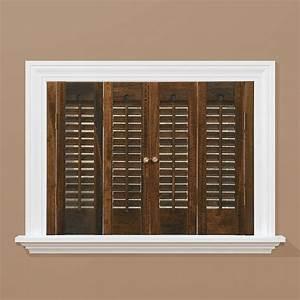 homebasics traditional real wood walnut interior shutter With interior plantation shutters home depot