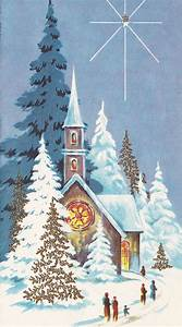 Vintage Christmas Card: People walking to snow-covered ...