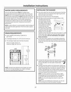 Installation Instructions  Water Supply Requirements