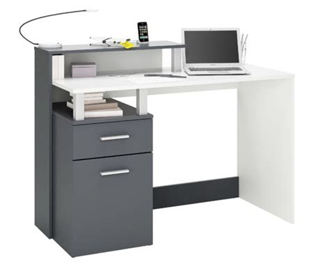 sous bureau pas cher bureau multimedia 1 porte 1 tiroir oracle blanc graphite