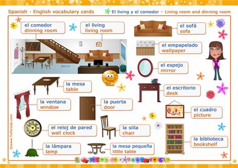 Living Room En Español Es by Vocabulario Espa 241 Ol Ingl 233 S Material Did 225 Ctico En Ingl 233 S