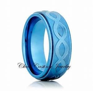 blue titanium wedding bandtitanium wedding ringbrushed With blue titanium wedding rings