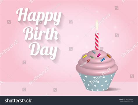 birthday cupcake illustration  pink background stock