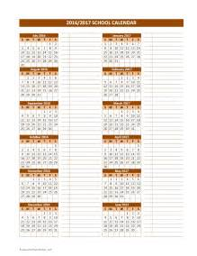 2016 2017 School Calendar Template