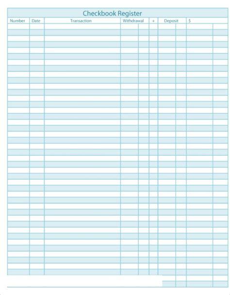 checkbook register templates   excel format