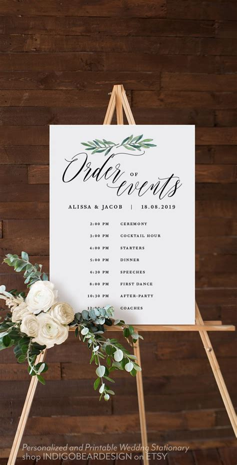 greenery order   sign order  service wedding