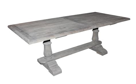 solid wood dining table  gray washed  finish