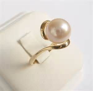 pearl ring gold ring womens pearl engagement ring - Pearl Engagement Rings Gold