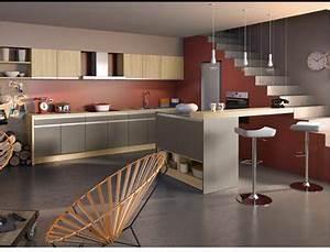 cuisine amenagee couleur taupe meubles socoo39c peinture With meuble de cuisine en bois rouge 2 idee couleur cuisine la cuisine rouge et grise