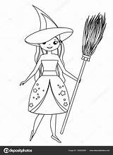 Witch Halloween Drawing Characters Coloring Broom Getdrawings Holding sketch template