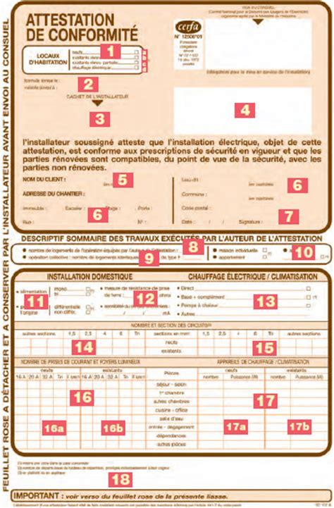 consuel electrique maison individuelle consuel document d attestation de conformit 233 lamaisonboisdenous la maison en bois de mari