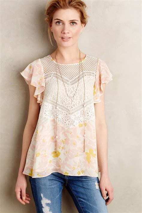 anthropologie blouses nwt anthropologie fluttered flores blouse by hd in