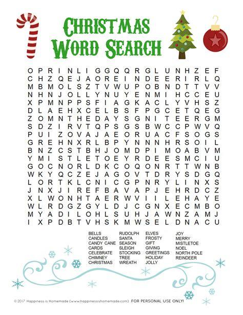 Printable Christmas Word Search For Kids Adults