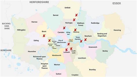 Mapa de los barrios más peligrosos de Londres