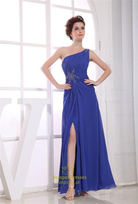 royal blue  shoulder evening dress chiffon